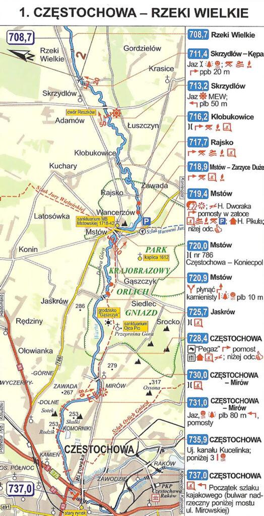 mapa kajakowa Częstochowa