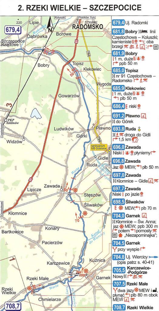 mapa kajakowa Warta